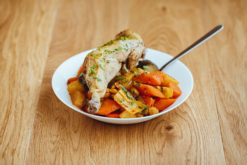 Assiette de légumes à l'orientale au poulet par le restaurant Cousbox